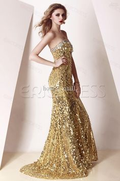 Wholesale Extremely dazzling all over gold sequined embellished beaded sheath sweep train length Prom Evening Dress GF721, Free shipping, $176.96-207.2/Piece | DHgate