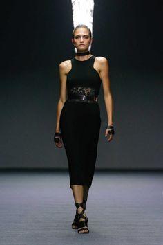Carla Zampatti cut-away sleeveless dress, high waist lace detail, black Semi Formal Wear, Carla Zampatti, Vogue Australia, Australian Fashion, Fashion Labels, Summer Collection, Beautiful Dresses, Lace Skirt, Ready To Wear