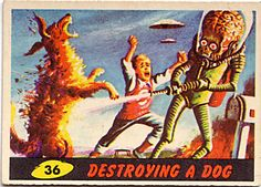 Mars Attacks GIFs bring new life to the cult-favorite trading card series! Mars Attacks, Science Fiction Art, Pulp Fiction, Tim Burton, 50th Anniversary Cards, Alien Art, Retro Futuristic, Sci Fi Movies, Art Graphique