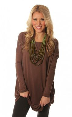 Riffraff | piko long sleeve tunic - chocolate | basic with bright necklace or scarf