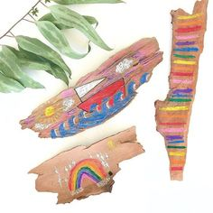 Tree bark canvas makes a fun summer craft activity for kids Bug Crafts, Camping Crafts, Crafts To Make, Summer Crafts For Toddlers, Craft Activities For Kids, Toddler Preschool, Toddler Crafts, Kids Crafts, Paper Spinners