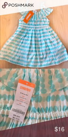 Gymboree sundress Aqua Tiffany blue and white geometric stripe print dress with cinched elastic waist and arm ruffles.  NWT.  Perfect for a birthday party or BBQ! Gymboree Dresses