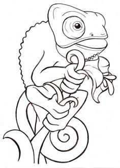 Cartoon Baby Veiled Chameleon Tattoo by ~Metacharis on deviantART
