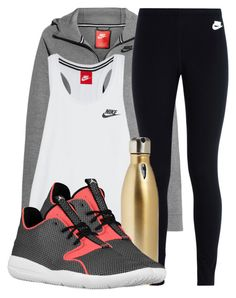 """""""when you procrastinate working out """" by aiyanaa ❤ liked on Polyvore featuring NIKE and S'well"""