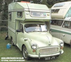 Morris Minor Camper in Light green photograph of Mini Camper, Camper Caravan, Truck Camper, Camper Van, Vintage Campers Trailers, Vintage Caravans, Camper Trailers, Tiny Trailers, Morris Minor