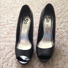 Black Peep toe Stilettos Black peep toe stiletto heels. 4-5in heel. Slight imperfections on shoe overall good condition SO Shoes