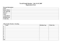 Family Reunion Registration Form Template | family reunion ...