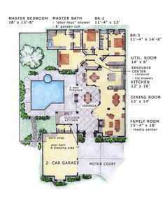 Another fabulous floor plan! I love the outdoor patio design; would be a great place for a grilling area and outdoor bathroom!