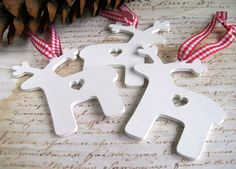 Wooden reindeer Christmas decorations or tags 3 white red gingham ribbon