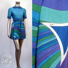 1960's Emilio Pucci designs. I wore these outfits! Reversible bright green/bright blue coats. Sassy. Great job, great friends made on the job...