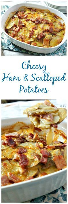 Cheesy Ham and Scalloped Potatoes: Leftover ham shines in a simple gratin made w. Cheesy Ham and Scalloped Potatoes: Leftover ham shines in a simple gratin made with sliced potatoes and a homemade sharp cheddar cheese sauce. Ham Dishes, Potato Dishes, Potato Recipes, Pork Recipes, Food Dishes, Cooking Recipes, Healthy Recipes, Cheese Dishes, Side Dishes