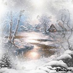 It is snowing here - Winter, Weihnachten - Noel Winter Christmas Scenes, Christmas Art, Winter Szenen, Winter Time, Winter Pictures, Christmas Pictures, Snow Gif, Winter Drawings, Christmas Wonderland