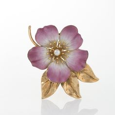 Hedges & Co. Art Nouveau Pearl, Gold and Enamel Flower Brooch. Available Exclusively at Macklowe Gallery.