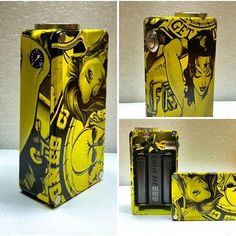 Extremely custom 1590b Dual Series 18650 PWM box. Hydrodipped, 30mm Fat Daddy 510, yellow LED button and voltmeter. It's headed off to it's new home tonight - See more at: http://iconosquare.com/viewer.php#/feed/list