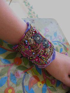 Mauve Silk Bracelet Vintage Metallic Embroidery by AllThingsPretty