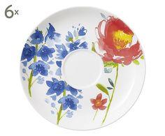 Set di 6 piattini per tazze in porcellana multicolor Flowers, D 18 cm