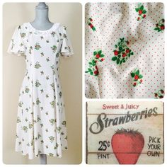 Vintage 1930's/40's strawberry dress❤️ Wonderful vintage strawberry print & polka dot dress from the 30's/40's. A-line, Lace collar, zipper down the back. Handmade, Fits like a 4/6 or Small. Super flattering on reminds me of Modcloth & Unique Vintage dresses. ❤️ ❌trades Vintage Dresses