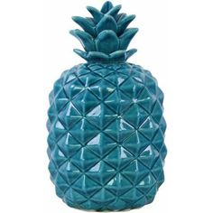 Urban Trends Collection: Ceramic Pineapple Figurine, Gloss Finish, Blue