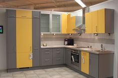 - Yellow Kitchens Design 2019 L Shape Kitchen – Yellow Delight – Modular Kitchen solutions Offer Yellow Kitchen Designs, Kitchen Cupboard Designs, Yellow Kitchen Decor, Kitchen Room Design, Best Kitchen Designs, Modern Kitchen Design, Interior Design Kitchen, Yellow Kitchens, Kitchen Ideas