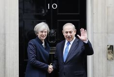 Britain's Prime Minister Theresa May greets Prime Minister Benjamin Netanyahu of Israel at Downing Street in London, Monday, Feb. Manchester Attack, Manchester Bombing, London Manchester, Uk Arms, Arab News, Benjamin Netanyahu, Israel News, British Government, Theresa May