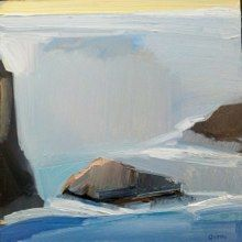 "Sea, Rocks, Yellow by Sandy Ostrau, 12""x12"""