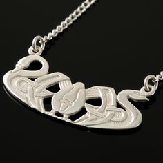 """Three Norns"" swan motif from Shetland Jewelry (shown here as a pendant) is also available in pins, bracelets & cufflinks!"
