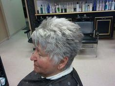 Woman's short spiked textured hair cut