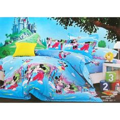 Blue Brushed Cotton Mickey And Minnie Mouse Bedding Sets-Kids Bedding Sets