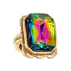 Allison Daniel Iridis Ring ($85) ❤ liked on Polyvore featuring jewelry, rings, accessories, allison daniel jewelry, allison daniel, band jewelry, adjustable rings and rectangle rings