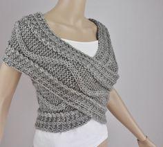 Hand knit woman sweater wool vest Cross Sweater Capelet Neck