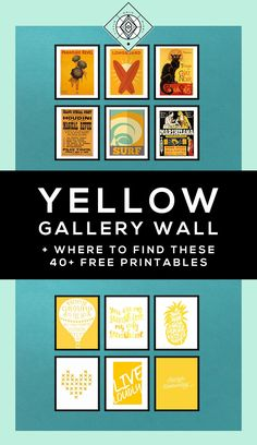 In which I round up more than 40 free printables from around the web to help you create a yellow gallery wall. This is part of my color theme series.