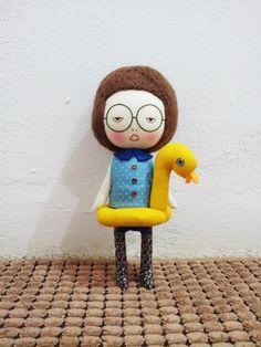 Medium size Handmade girl with her cutie duckling - EEchingHandmade