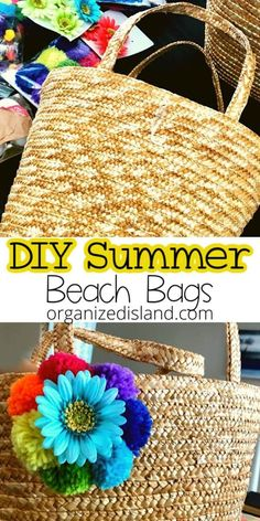 Great inspiration on DIY Tote bags for summer. It is easy to get the boho tote bag style by incorporating a few craft supplies and some creativity. #DIY #totebag #summer #craftidea #crafting Quick Crafts, Crafts To Make, Easy Crafts, Custom Tote Bags, Personalized Tote Bags, Summer Diy, Summer Crafts, Beach Themed Crafts, Diy Straw