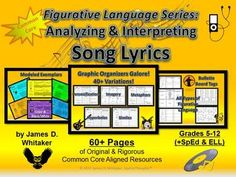 Figurative Language Song Lyrics Analyzing and Interpreting -- 60+ Pages!