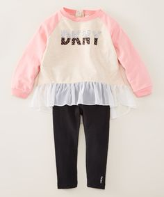 0f6e487a99dd4 Peony Pink  DKNY  Tunic   Black Jeans - Infant Toddler   Girls