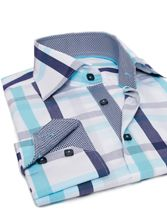 Navy and Turquoise Checkered Shirt