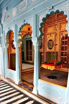 Udaipur Palace, Udaipur, India sky blue with richer colors inside, and the swing. India Architecture, Gothic Architecture, Ancient Architecture, Architecture Portfolio, Residential Architecture, Nova Deli, Rajasthan India, India India, Haveli India