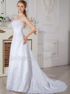Princess Strapless Sweetheart Scalloped-Edge Natural Waist Satin Wedding Dress - WD2209 - US$ 259.99