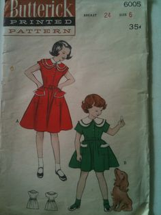 Butterick #6005. Girls' dress with cape collar, size 6. Looks to be from the 1950's.