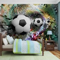 Details about wall mural photo wallpaper xxl colorful puzzle Boys Football Bedroom, Soccer Bedroom, Kids Bedroom, Paper Wallpaper, Room Wallpaper, Photo Wallpaper, Wallpaper Murals, Bedroom Murals, Wall Murals
