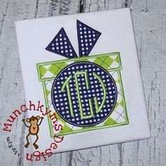 Present Circle Bow 2 Applique - 3 Sizes! | What's New | Machine Embroidery Designs | SWAKembroidery.com Munchkyms Design