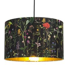 The Florist Lampshade With Gold Lining – Mint Gold Ceiling, Ceiling Lamp Shades, Ceiling Rose, Ceiling Pendant, Pendant Lamp, Floral Lampshade, Painted Lampshade, Painting Lamp Shades, Yellow Accents