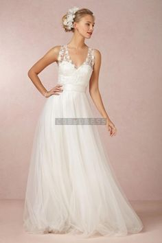 Simple Lace V-neck Sash Tulle Beach Wedding Dress
