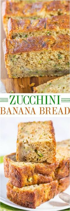 Zucchini Banana Bread - Soft, super moist, easy, no mixer needed! Jazz up regular banana bread by adding zucchini and it's healthier, too!! A healthier option for your #MothersDay #Brunch table!