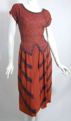 persimmon and plum beaded dress, DCV 1940s Outfits, 1940s Dresses, Vintage Dresses, Vintage Outfits, 1940s Fashion, Vintage Fashion, Wild Style, Crepe Dress, Dress Up