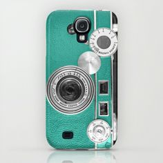 Teal retro vintage phone Galaxy S4, iPhone & iPod Case