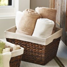 Audrey Large Mahogany Rush Storage Basket with Liner