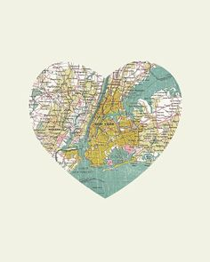 New York Art City Heart Map - Art Print sold by LuciusArt. Shop more products from LuciusArt on Storenvy, the home of independent small businesses all over the world. A New York Minute, Heart Map, Diy Inspiration, Collage, Nyc, New York Art, I Love Ny, Illustrations, Map Art