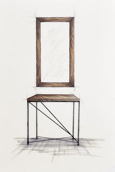 Handcrafted, Small dressing table with metal legs and mirror in old wooden frame.