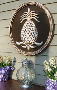 Garden decor outdoor pineapple plaque by marie ricci www for Pineapple outdoor decor